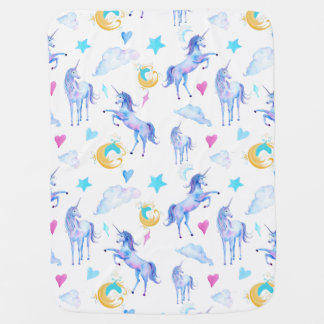 Magical Unicorn Pattern Watercolor Fantasy Design Stroller Blanket