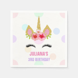 Magical Unicorn Rainbow Birthday Pink Gold Purple Disposable Napkins