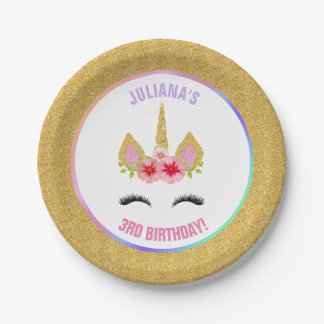 Magical Unicorn Rainbow Birthday Pink Gold Purple Paper Plate