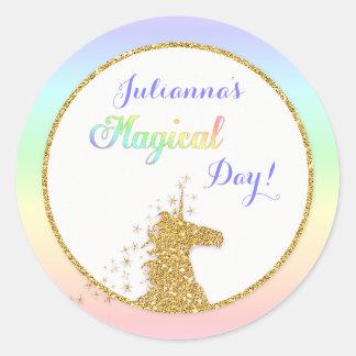 Magical Unicorn Rainbow Colours Round Sticker