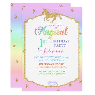 Magical Unicorn Rainbow & Faux Glitter Card