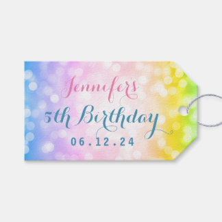 Magical Unicorn Rainbow Kids Birthday Party Gift Tags