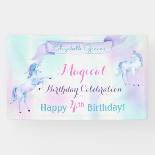 Magical Unicorn Rainbow Lavender Pink Turquoise Banner