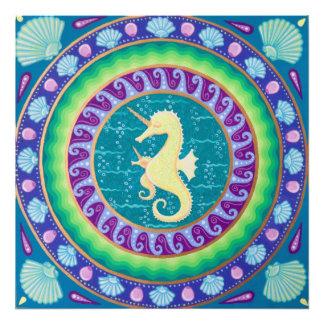 Magical Unicorn Seahorse Mandala Photograph