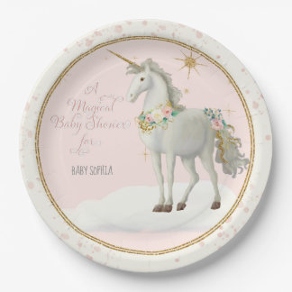 Magical Unicorn Theme BOHO Floral Baby Girl Shower Paper Plate