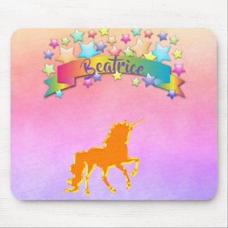 Magical unicorn ultra violet peach with name mouse pad