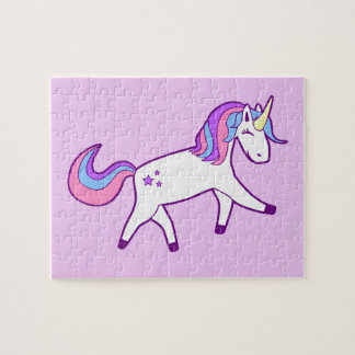 Magical Unicorn with Pink, Purple, and Blue Mane Jigsaw Puzzle