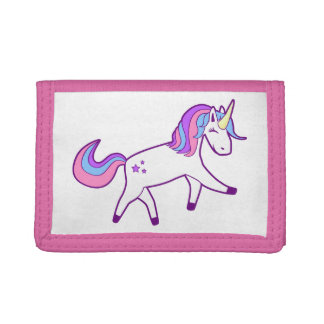 Magical Unicorn with Pink, Purple, and Blue Mane Tri-fold Wallets