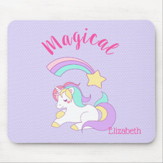 Magical Unicorn with Rainbow Shooting Star Mouse Pad