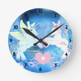 Magical Unicorns Childrens Learning Round Clock