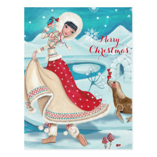 Magical Winter Eskimo Girl - postcards