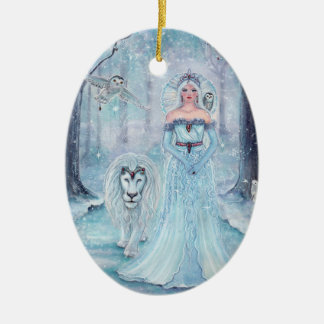 Magical winter queen with lion ornament by Renee