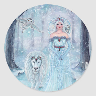 Magical winter queen with lion stickers by Renee L