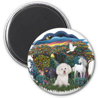 Magical WOods - Bichon Frise 2 Inch Round Magnet