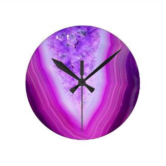 Magically Purple Agate Druzy Round Clock