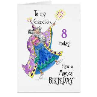 Magician 8th Birthday Card for Grandson