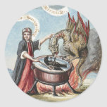 Magician and Dragon at the Cauldron of Alchemy Round Sticker