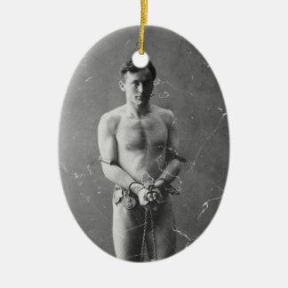 Magician Harry Houdini Standing In Chains Ceramic Ornament