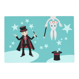 Magician kid birthday party laminated place mat