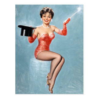 Magician Pin Up Postcard