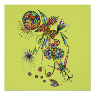 Magician - psychedelic abstract art funky poster