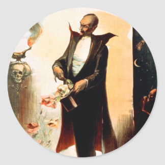 Magician pulling roses out of top hat, c.1892 classic round sticker