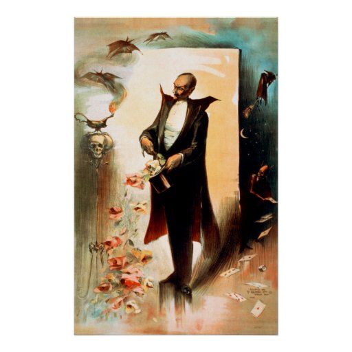 Magician pulling roses out of top hat, c.1892 poster
