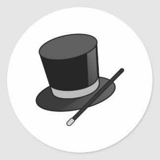 Magician Wand and Hat Classic Round Sticker