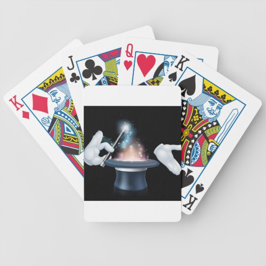 Magician wand and top hat trick bicycle playing cards