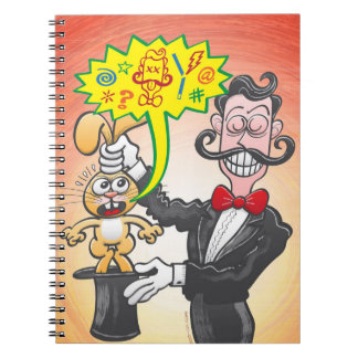 Magician's bunny feeling mad and saying bad words spiral notebook