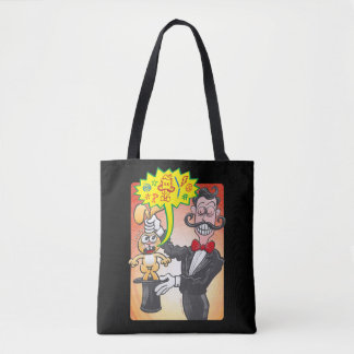 Magician's bunny feeling mad and saying bad words tote bag