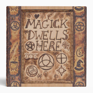 Magick Dwells Here Pentacle Triquetra Triskele 3 Ring Binders