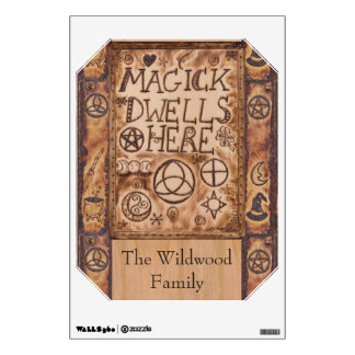 Magick Dwells Here Pentacle Triquetra Triskele Wall Decal