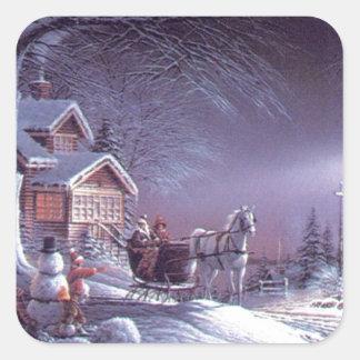 Magie d hiver de Noël Sticker Carré