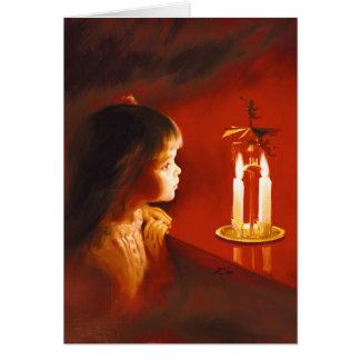 Magie de lueur d une bougie carte de vœux