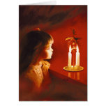 Magie de lueur d'une bougie carte de vœux