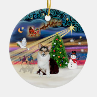 Magie de Noël - corgi de Gallois (tri couleur) Ornement Rond En Céramique