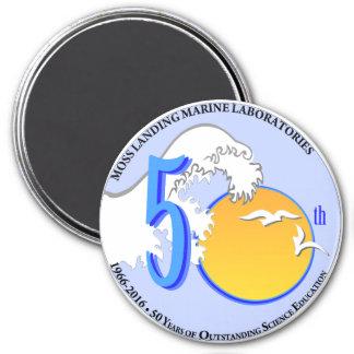 """Magnet (3"""" round): MLML 50th wave/sun"""