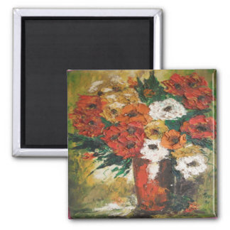 Magnet Ann Hayes Painting Red Flowers Mixed