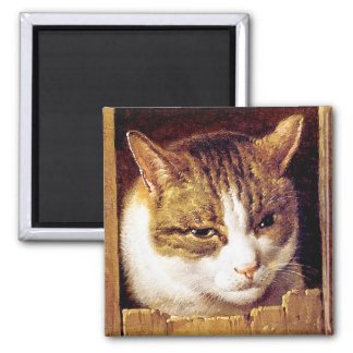 "Magnet: ""Cat Peeping Through A Fence"" Magnet"
