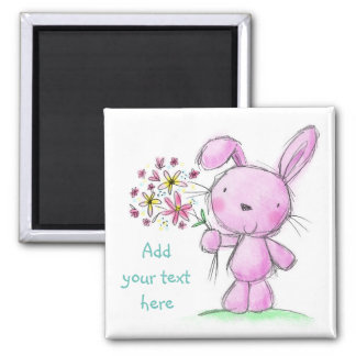 ♥ MAGNET ♥ Cute pink lilac bunny rabbit