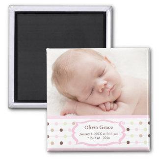 Magnet de faire-part de naissance de photo - bébé magnet carré