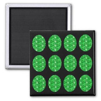 Magnet Green Glitter Circles On Black