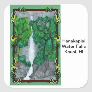 Magnet-Hanakapiai Water Falls Square Sticker