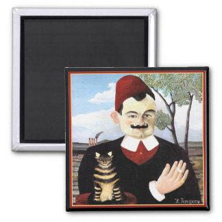 """Magnet:  """"Man & Cat"""" by Henri Rousseau Magnet"""