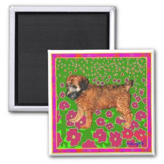 Magnet: Puppy in Garden - Pink Magnet