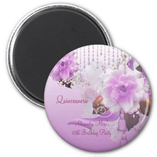 Magnet Quinceanera 15th Lilac Pink Floral White