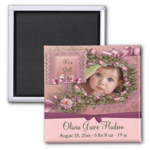 Magnet rose de naissance de photo de bébé de roses magnet carré