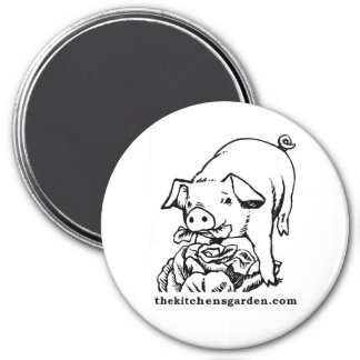 Magnet: Sheila, my big fat pig eating a cabbage. 3 Inch Round Magnet