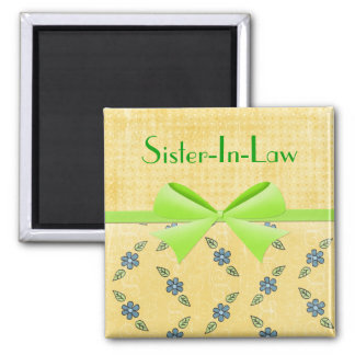 Magnet-Sister-In-Law- Green Ribbon Square Magnet